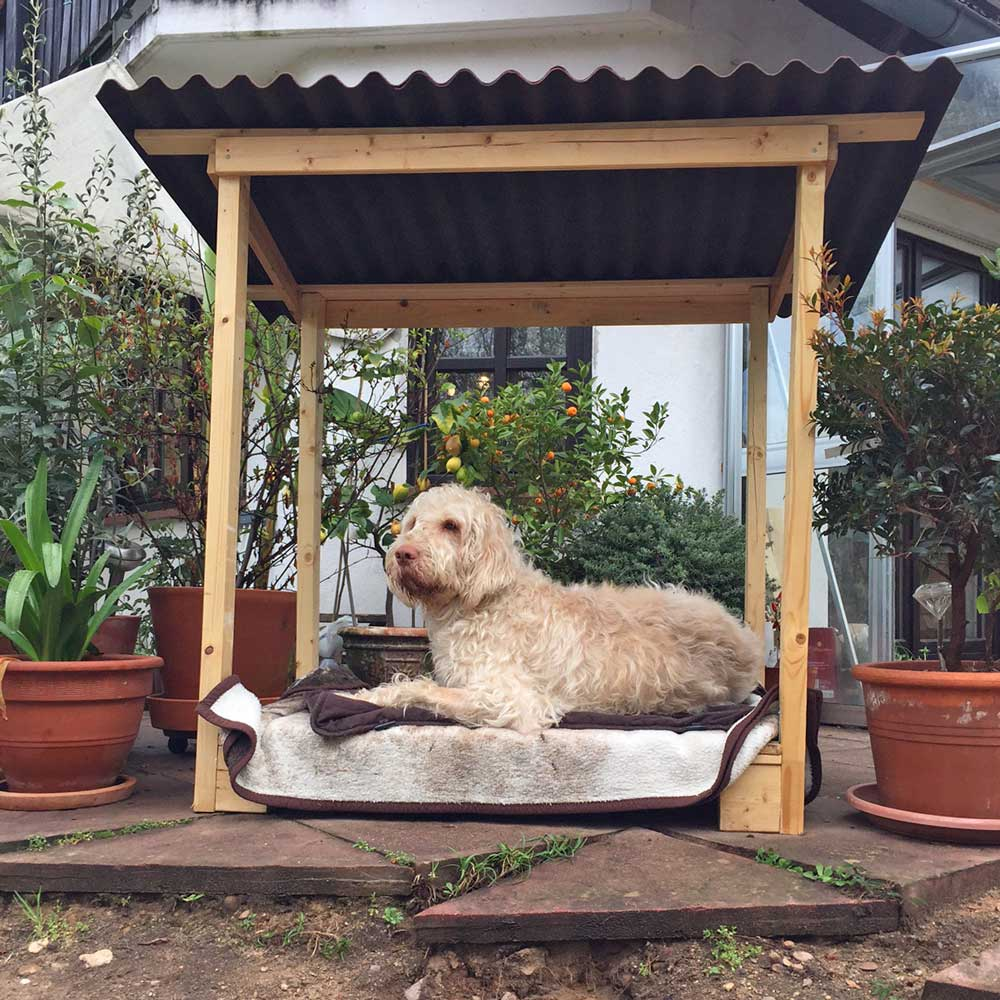 diy hunde unterstand aus latten rollrost. Black Bedroom Furniture Sets. Home Design Ideas